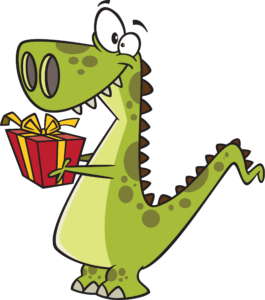 Cartoon dinosaur holding a gift.