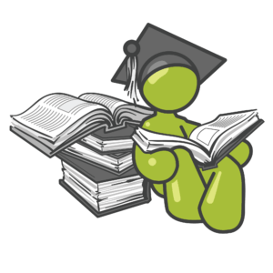 Stick man reading books with graduation hat on