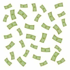 Dollar bills raining down