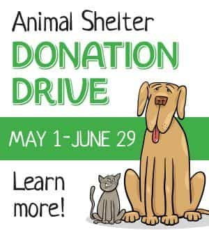 Click to learn about the Animal Shelter Donation Drive
