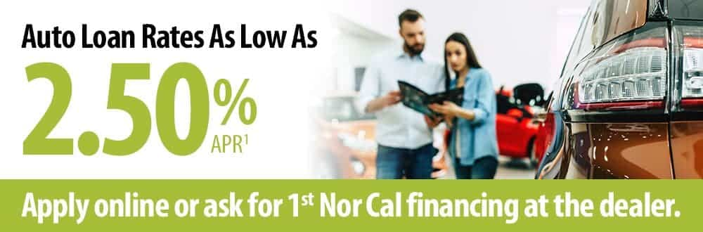 Auto loan rates as low as 2.50% APR. Click to learn more.
