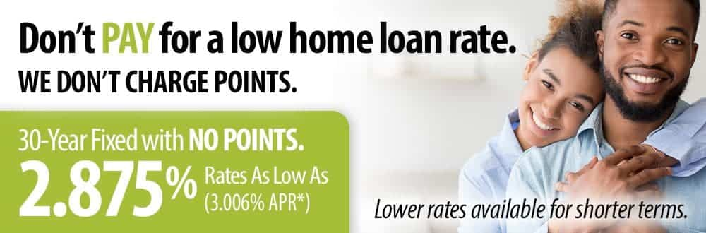 No points home loan rates as low as 2.875%.