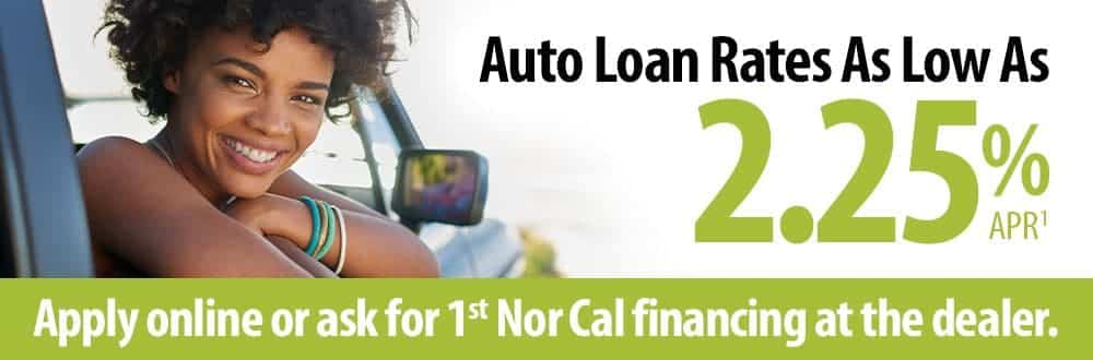 Auto Loan rates as low as 2.25% APR