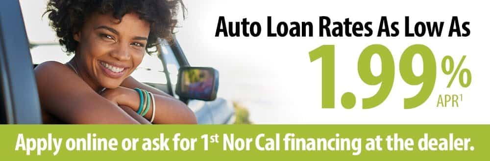 Auto loan rates as low as 1.99% APR