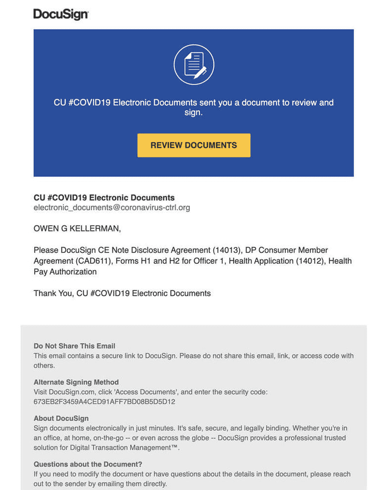 Screenshot of fake DocuSign email.