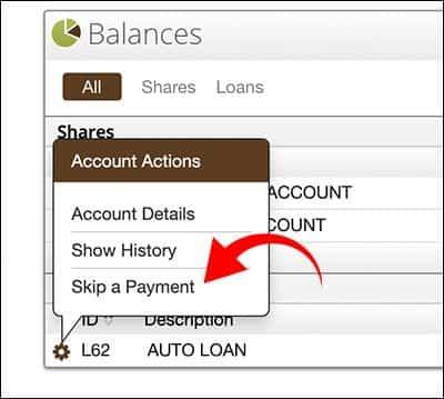 Home Banking Skip a Pay Diagram